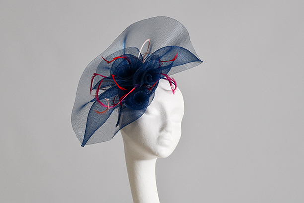 Navy Posey Fascinator