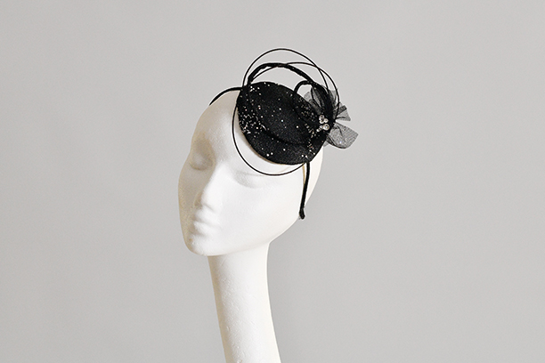 Starlit Night Black Fascinator