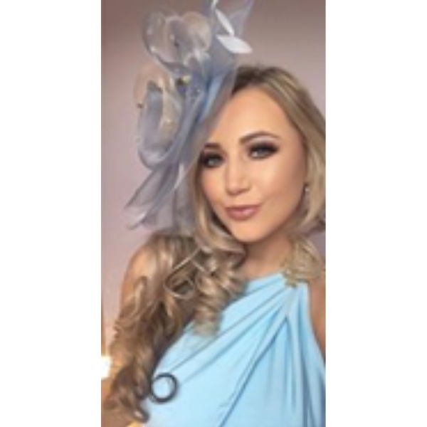 Light Blue and nude Crin wedding Fascinator with swarovski crystal beading for day at the races, wedding guests.
