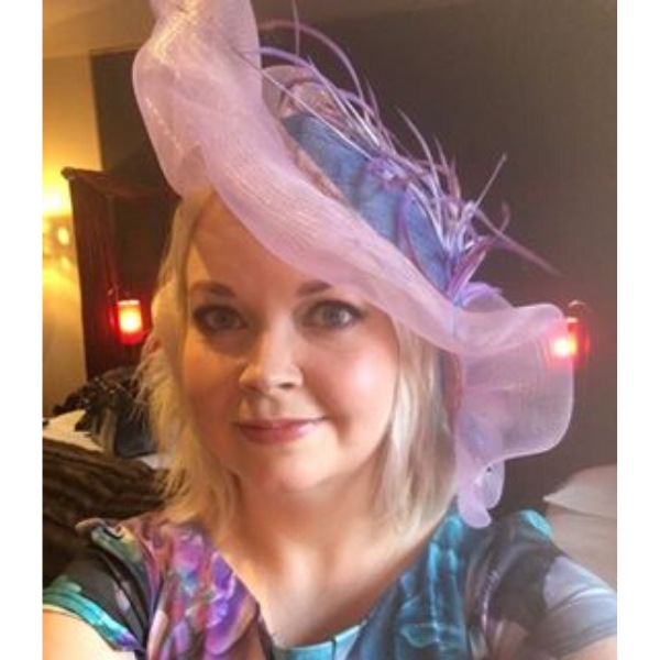 Made to Order sinamay base and crin brim wavy royal blue and lilac feather hat from weddding guest and day at the races