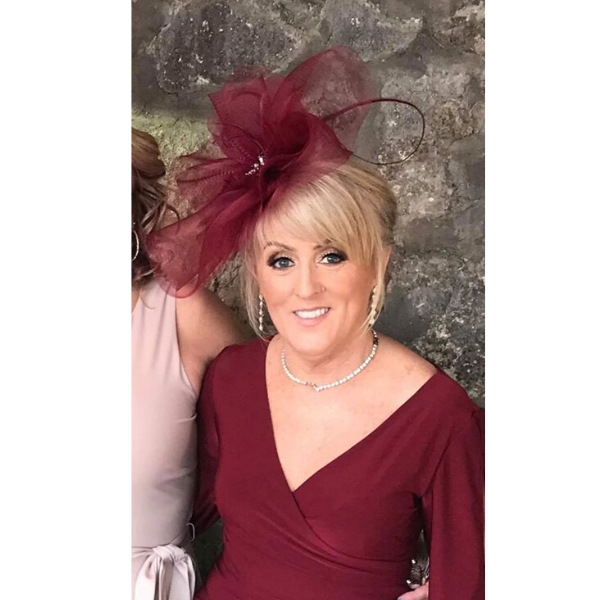 Mulberry Wine crinoline fascinator and crystal embellished for wedding guest bespoke designed and created. Day at the races, ladies day hat.