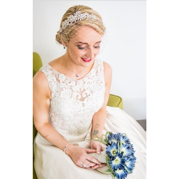Wedding headpiece in crystal embelished stones with bespoke veil in champagne, wedding bridal millinery