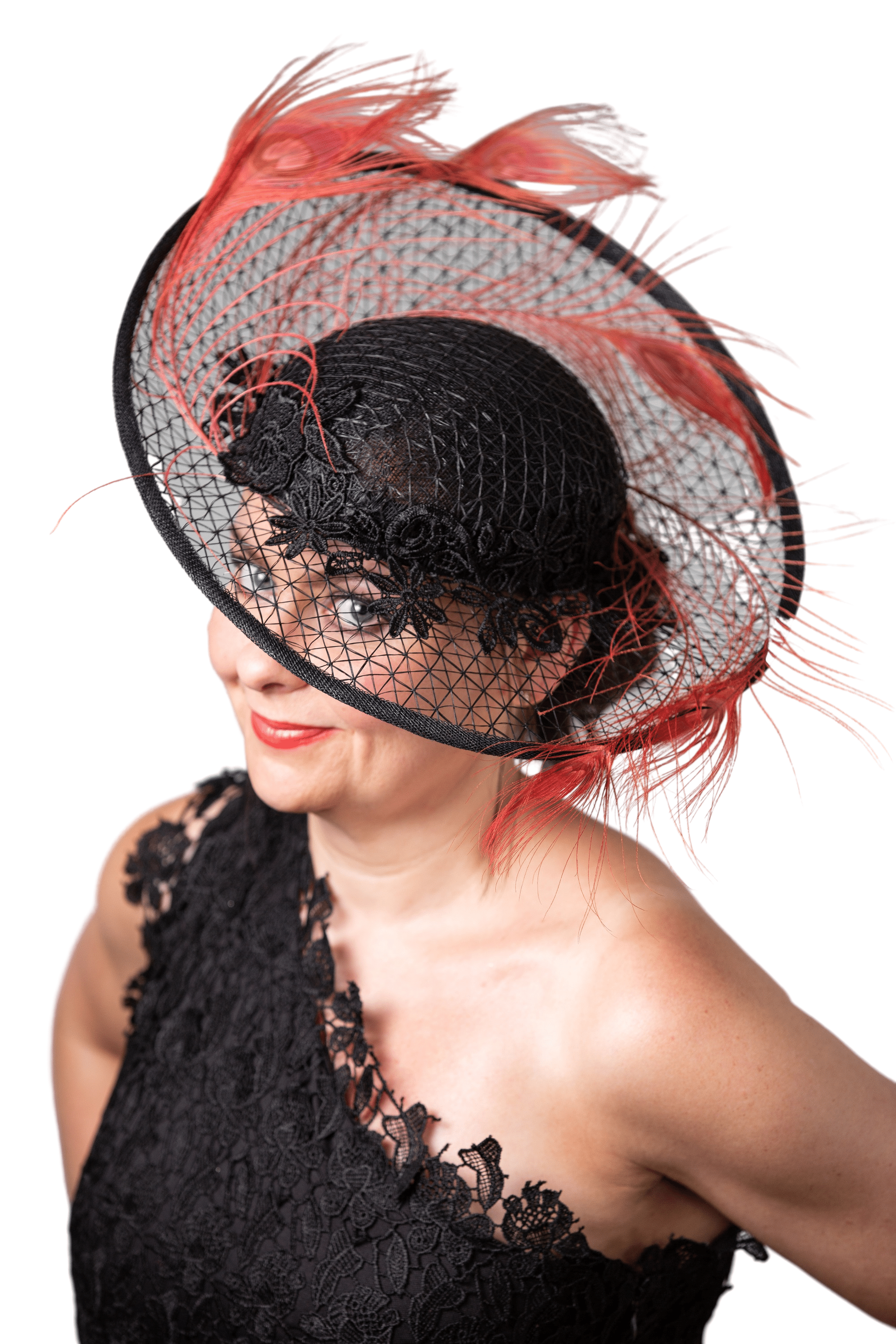 Full on side image od hat with model looking directly through transparent brim to camera.