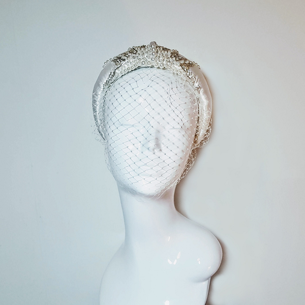 Bridal satin and beaded Headband on mannequin head front facing