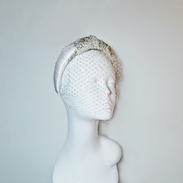 Bridal satin and beaded Headband on mannequin head small