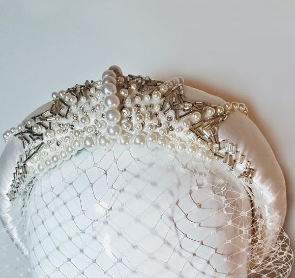 Bridal satin and beaded Headband small close up