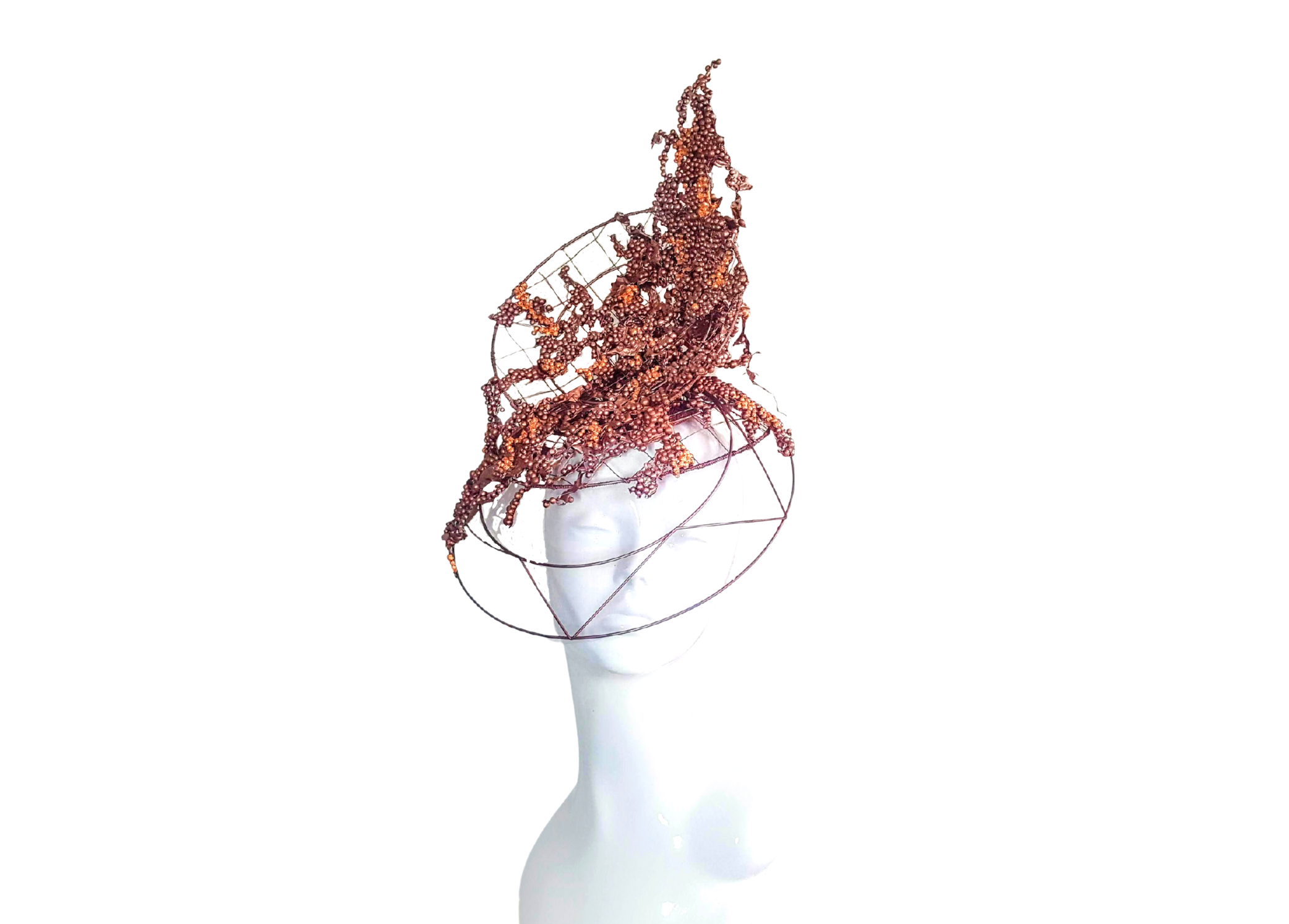 Copper Top Hat on wire frame with detachable transparent visor modelled on a mannequin head