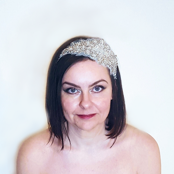 Crystal applique bridal headpiece looking straight on small