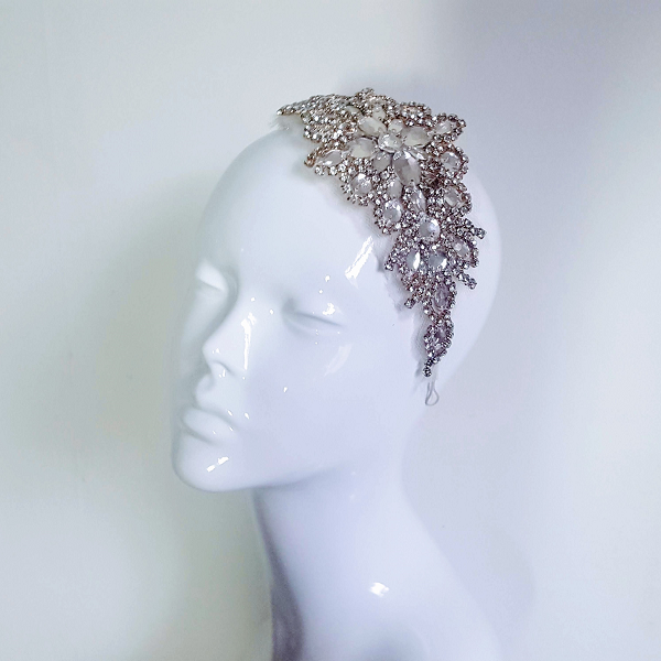 Crystal applique bridal headpiece on mannequin head small