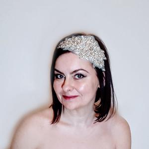 Crystal applique bridal headpiece small