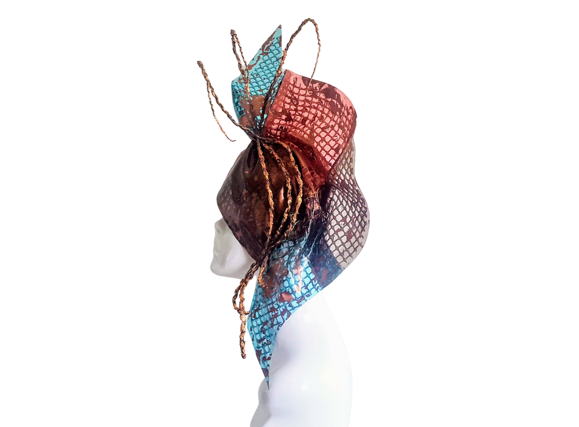 Plastic Fantastic recycled Hat in aqua blue and coral pink check with copper rope like quills and copper foam waffle backing all sited on the right had side of a white gloss mannequin head