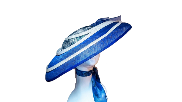 Beach Inspired blue large circular hat with silk scarf attachmnet and pearlised centre crown