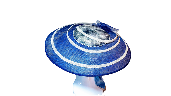 Beach Inspired blue large circular hat with silk scarf attachment and pearlised centre crown. Ideal for Royal Ascot Hat or a Beach Part Hat