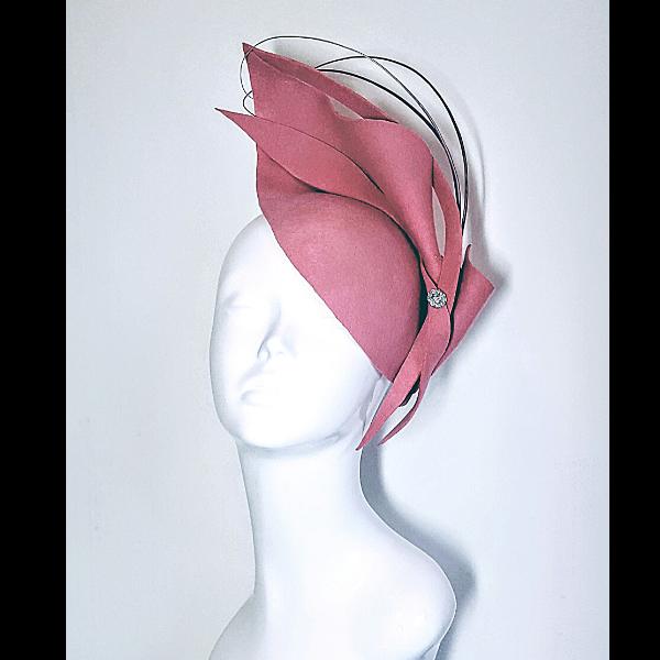 Pretty Pink Felt fascinator made from wool felt.